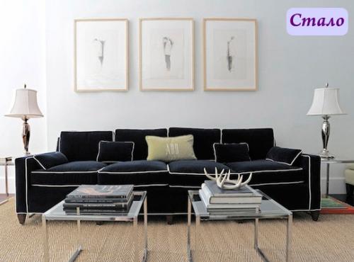 диван,дизайн,интерьер,синий диван, белая ,обивка,до и после