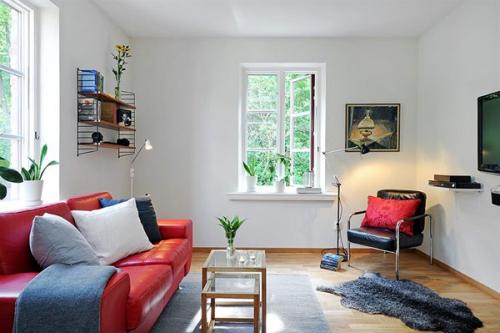 квартира,1комната,дизайн,белая квартира,красный диван,однушка