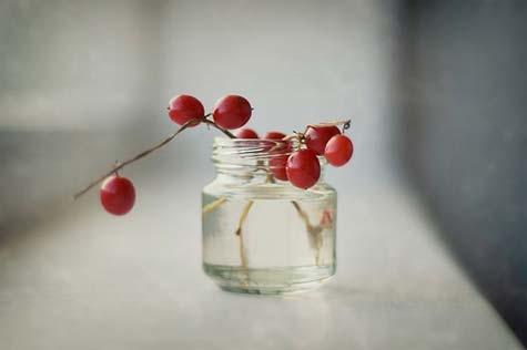 банки,осень,вечер,подсвечник,лист,рябина,вода