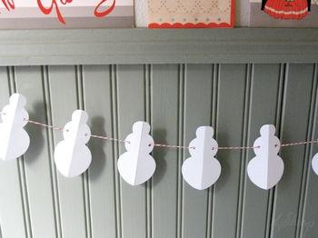 снеговики, гирлянды,поделка к новому году,снеговики из бумаги,поделки,скачать,фото поделки