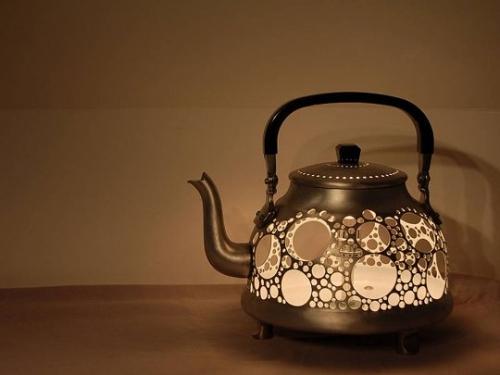 поделки,сделай сам,своими руками,чайник,светильник, дуршлаг