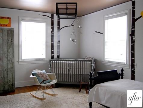 спальня,кровать,ремонт,до и после,фото,колыбель,птички,дерево,дизайн