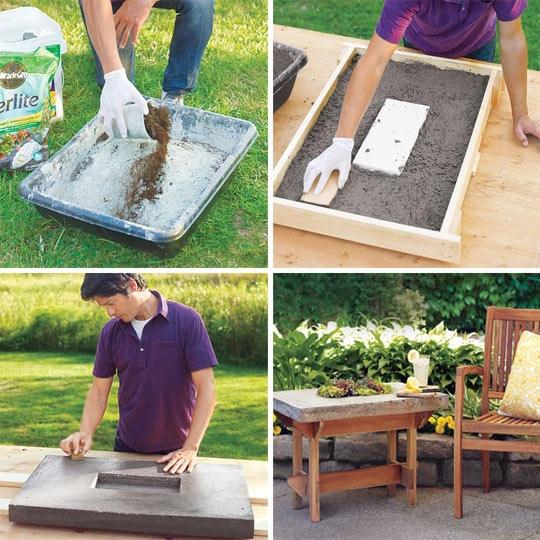 журнальный столик,сделай сам,поделки,цемент,дача,сад
