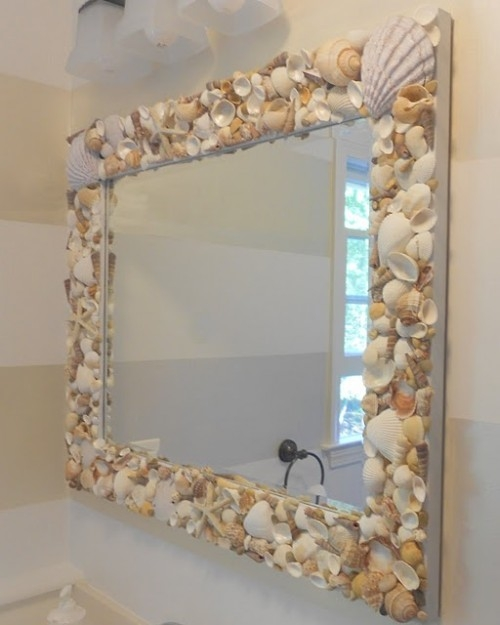 зеркало,ракушки,сделай сам,украсить дом,идеи,рамка