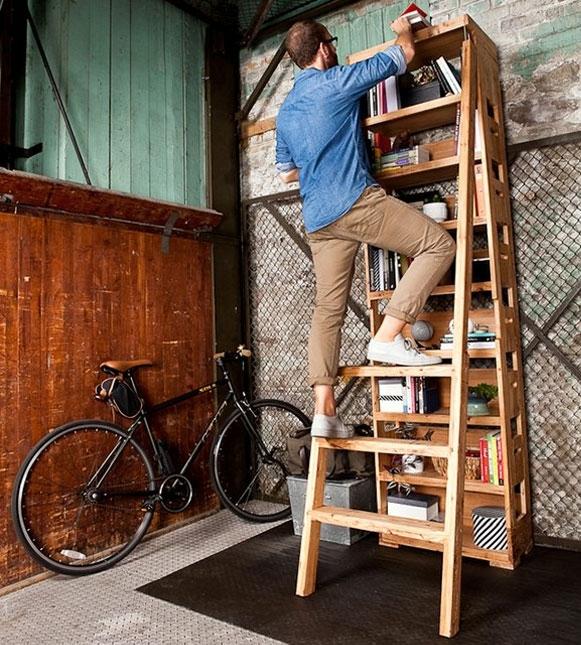 шкаф,полка,книги,лестница,дерево,идея