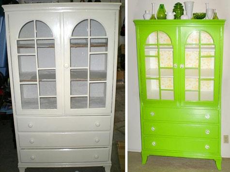 шкаф,до и после,зеленый,белый