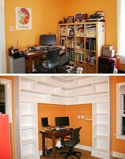 офис,домашний офис,угловой стол,до и после