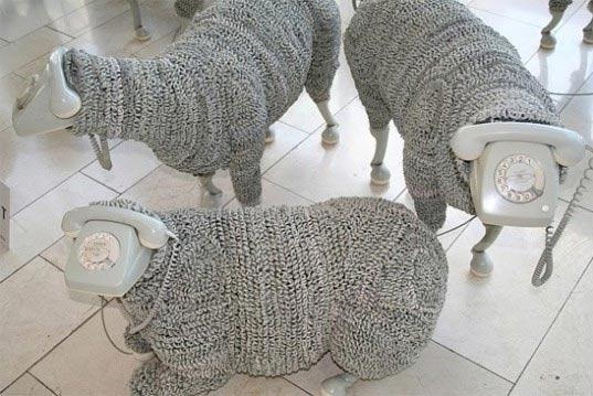 животные,идея,овцы,поделки,провод,телефон,фигуры