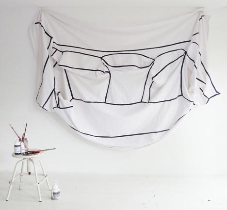 диван,холст,подушки,белый