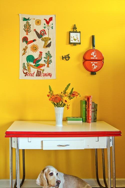 стена,желтая,собака,стол