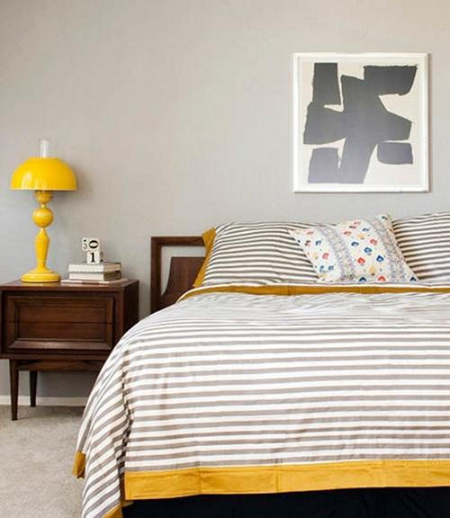лампа,желтая,кровать,спальня