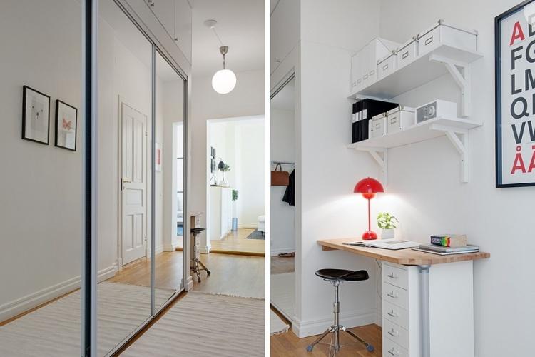 квартира, рабочая зона,шкаф купе,зеркальный шкаф,коридор
