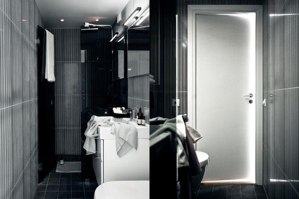 Мансарда,минимализм,черный,белый,квартира,туалет