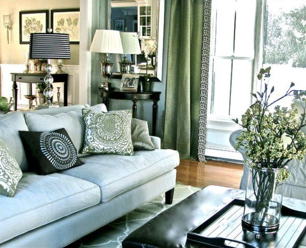 шик,черный цвет,диван,окно,свет,квартира