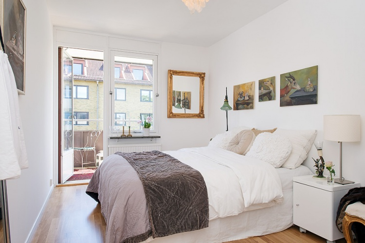 белая квартира,ремонт,фото,4х комнатная,спальня,кровать
