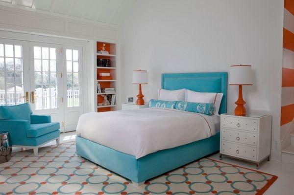 кровать,спальня,голубой,белый,окна