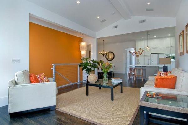 оранжевые стены гостиная