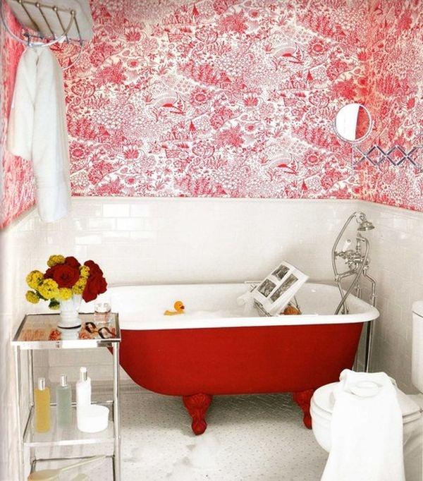 красная ванная, красные стены,ванная в красном стиле