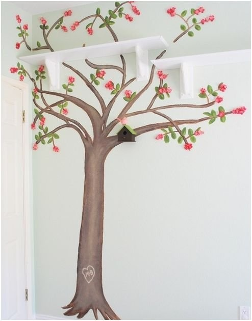 дерево на стене рисунок,украшение стен