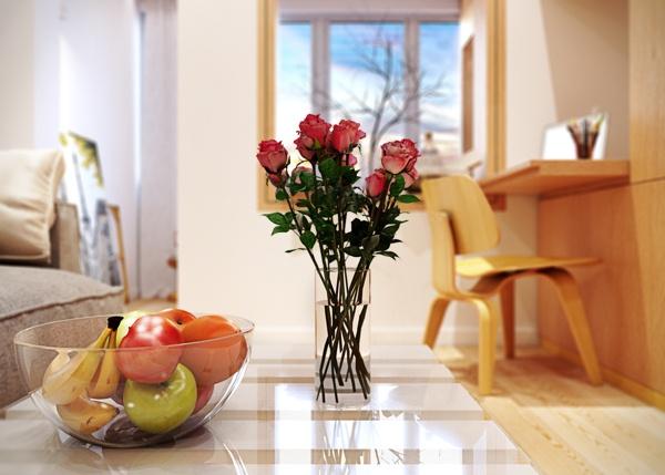 квартира,маленькая,светла,стильная,интерьер,красивая квартира фото,цветы,ваза с фруктами