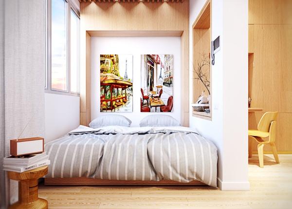 квартира,маленькая,светла,стильная,интерьер,красивая квартира фото ,кровать,спальня
